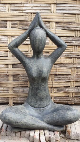 Yoga Sukhasana Skulptur Figur Outdoor 80cm NEU