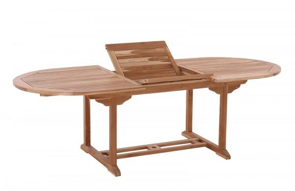Gartentisch, 180x100 cm oval, ausziehbar, Teak mit Schmetterlingsauszug, auf 240 cm ausziehbar