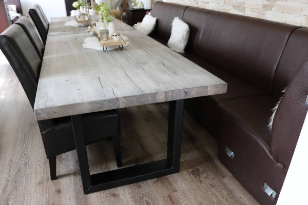 Esstisch Tisch 180x100cm Balkeneiche ice grey Neu