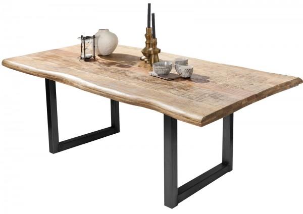 Esstisch 220x100cm Mango massiv 52mm Tischplatte mit schwarzem U Gestell