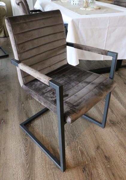 Freischwinger Armlehnen Stuhl 2er Set Esszimmerstuhl Sessel