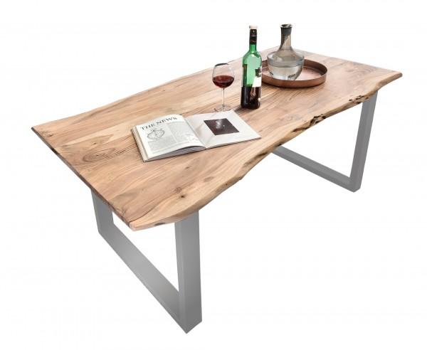 Esstisch Tisch Baumkante 160 x 85 cm Gestell silbern Platte Akazie