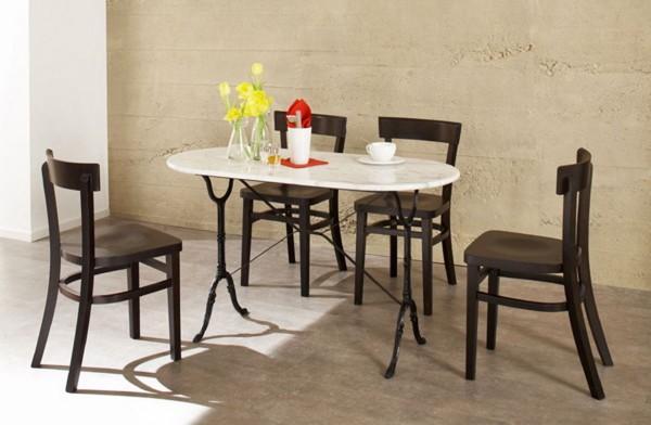 Bistrotisch Tisch Gastro mit Marmorplatte 120cm