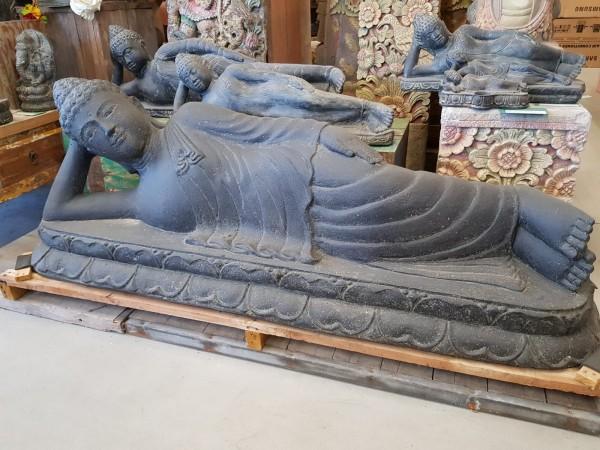 Buddha Skulptur liegend Lava Guss 160cm Schwere Qualität Neu