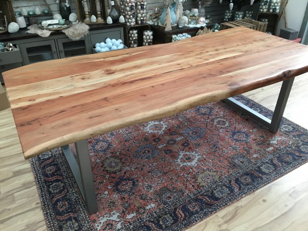 Esstisch Baumkante 240x100cm Akazie massiv 56mm Tischplatte mit Gestell