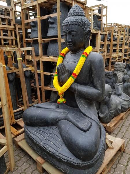 Buddha Skulptur Lava Guss 100cm Schwere Qualität Neu