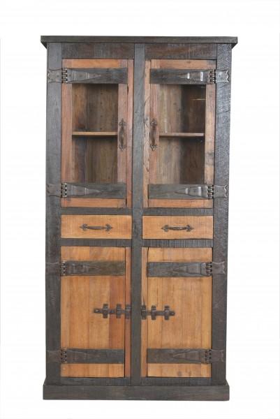 Vitrine Schrank Fortezza recyceltes Holz Neu