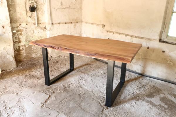 Esstisch Baumkante 160x90cm Akazie massiv 50mm Tischplatte mit Gestell