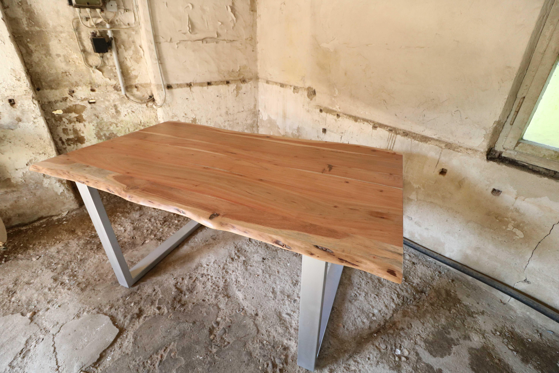 Esstisch Tisch Baumkante 140 x 90 cm Akazie massiv Neu
