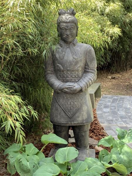 Chinsesischer Krieger Skulptur Lava Guss 150cm Schwere Qualität