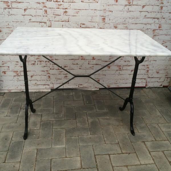 Bistrotisch Marmorplatte und Gussfuß Tisch 100cm x 60cm