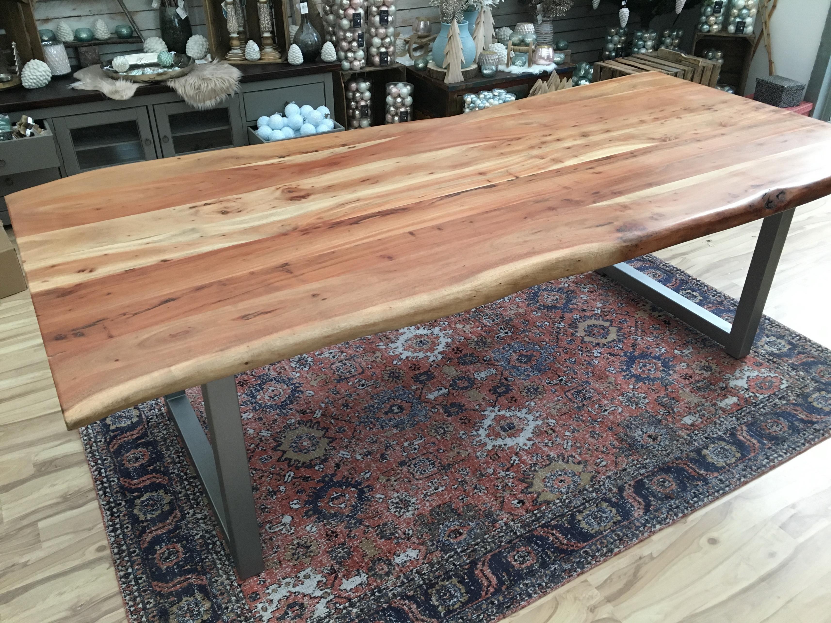 Esstisch Baumkante 240x100cm Akazie Massiv 56mm Tischplatte Mit