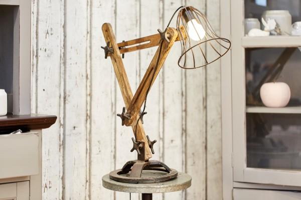 Lampe Industrie Design Mangoholz Neu