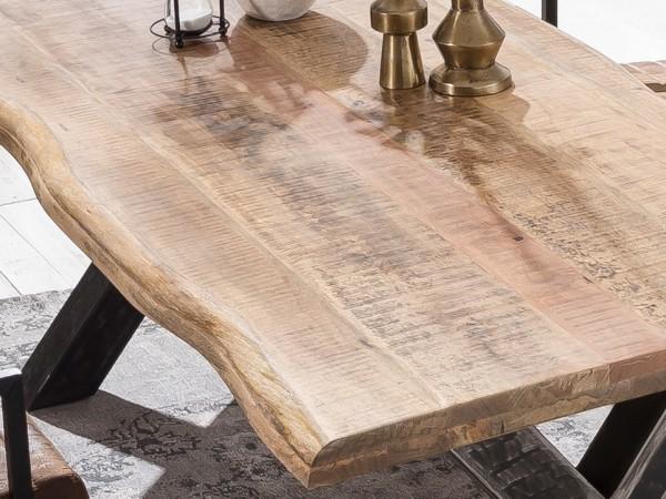 Esstisch 160x90cm Mango massiv 52mm Tischplatte mit schwarzem U Gestell