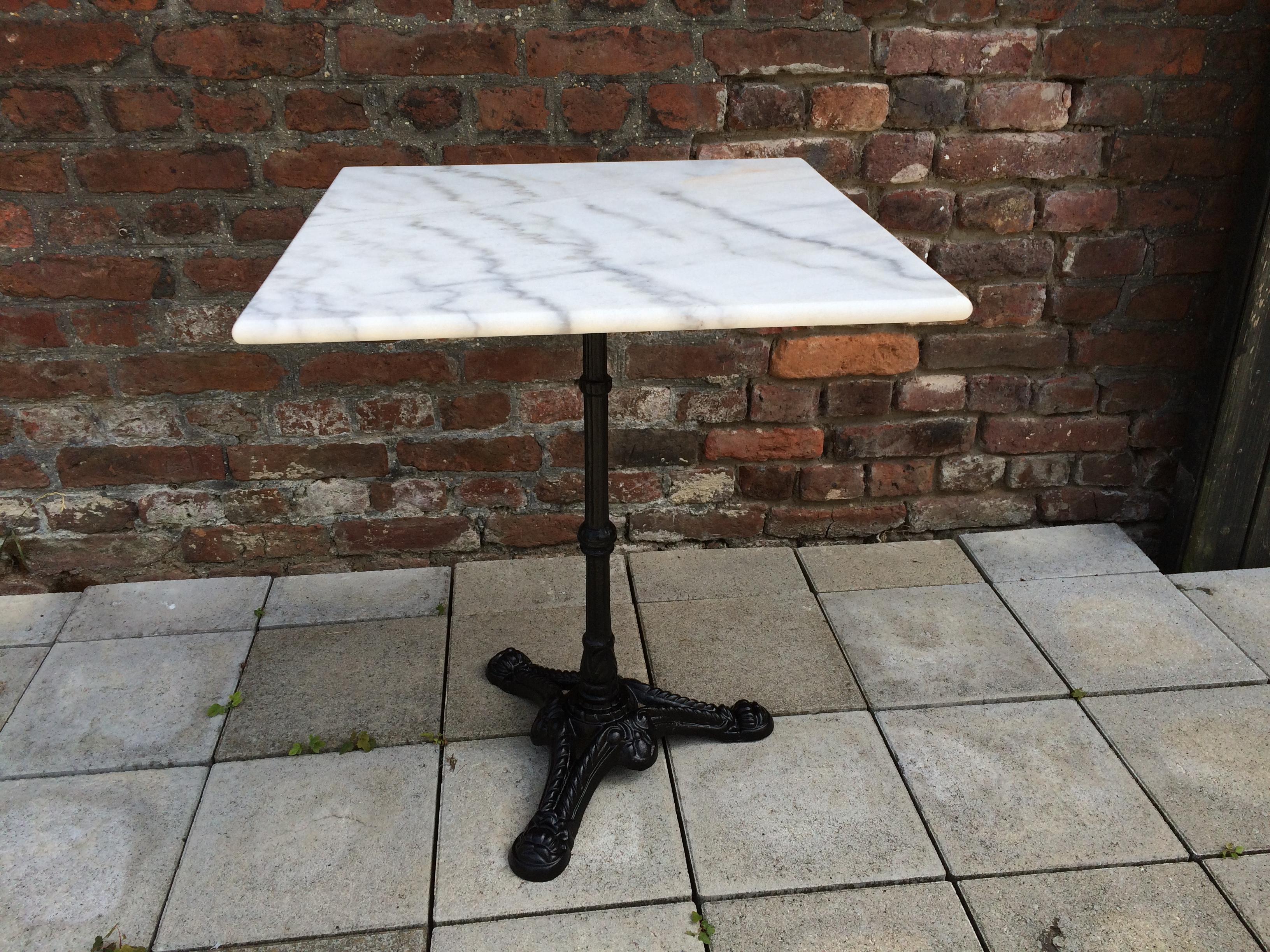 Bistrotisch Outdoor Gastro Mit Marmor Und Gusseisen Tisch 60x60cm